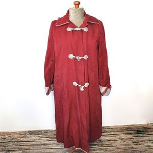 Shirley K Red Long Lined Trench Coat